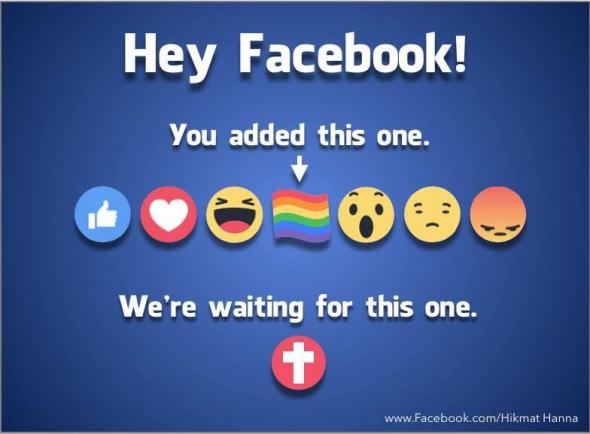 Y a t-il une guerre sur le réseau social Facebook? : Facebook après des plaintes à propos de l'arc-en-ciel Emoji, Facebook se retrouve chez les chrétiens conservateurs qui veulent ajouter un bouton croisé