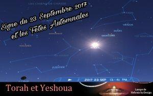 Astronomie Torah et Yeshoua mise à jour :  À relire Signe du 23 Septembre 2017 et Fêtes Automnales